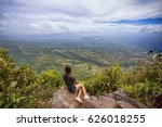 a young woman on the top of the ... | Shutterstock . vector #626018255