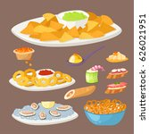 various meat canape snacks... | Shutterstock .eps vector #626021951