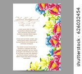 invitation with floral... | Shutterstock .eps vector #626032454
