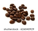 roasted coffee grains on white... | Shutterstock . vector #626040929