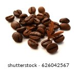 roasted coffee beans isolated...   Shutterstock . vector #626042567