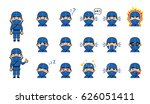 set of ninja emoticons. funny... | Shutterstock .eps vector #626051411