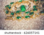 elegant female jewelry golden... | Shutterstock . vector #626057141