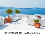 white architecture on santorini ... | Shutterstock . vector #626082719