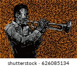 jazz trumpet player. vector... | Shutterstock .eps vector #626085134