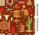 wild west cartoon icons set... | Shutterstock .eps vector #626101205