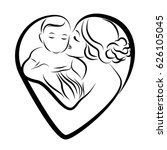 mother and child sketch in... | Shutterstock .eps vector #626105045