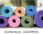 close up of colorful yoga mat  | Shutterstock . vector #626109041