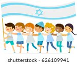 kids walk in a line with a big... | Shutterstock . vector #626109941