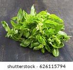 fresh basil herb.aromatic... | Shutterstock . vector #626115794