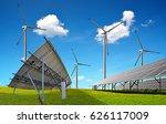 solar panels with wind turbines.... | Shutterstock . vector #626117009
