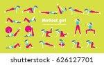 body workout set. woman doing... | Shutterstock .eps vector #626127701