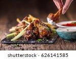 chicken wings. fried chicken... | Shutterstock . vector #626141585