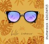 realistic sunglasses. palm... | Shutterstock .eps vector #626156915