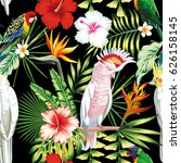 tropic exotic multicolor birds... | Shutterstock .eps vector #626158145