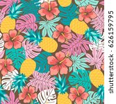 hibiscus  pineapple and... | Shutterstock .eps vector #626159795