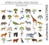 flat africa flora and fauna map ... | Shutterstock .eps vector #626175905