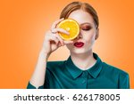 beautiful redhead girl with... | Shutterstock . vector #626178005