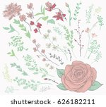 colorful hand drawn herbs ... | Shutterstock .eps vector #626182211