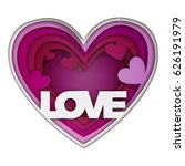 paper art  love inscription... | Shutterstock .eps vector #626191979