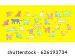cartoon illustration of  cats... | Shutterstock .eps vector #626193734