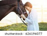 Stock photo vet petting a horse outdoors at ranch 626196077