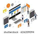 computer desktop ui ux web... | Shutterstock .eps vector #626209094