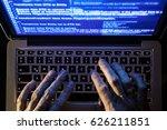hands of a hacker working on a...   Shutterstock . vector #626211851