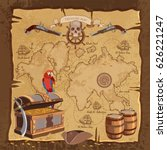 old pirate treasure map.... | Shutterstock .eps vector #626221247