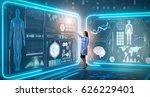 woman doctor in futuristic... | Shutterstock . vector #626229401