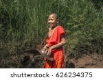 a little buddhist novice with a ... | Shutterstock . vector #626234375