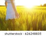 blurred hand touching wheat...   Shutterstock . vector #626248835