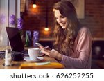 cheerful young woman working... | Shutterstock . vector #626252255