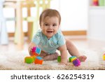 crawling funny baby boy on... | Shutterstock . vector #626254319