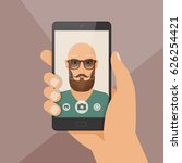 hipster bearded young man takes ... | Shutterstock .eps vector #626254421