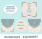 colorful greeting wedding... | Shutterstock .eps vector #626269097