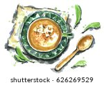 watercolor pumpkin soup. | Shutterstock . vector #626269529