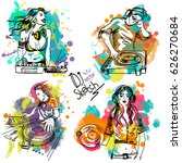 vector sketch with the dj and a ... | Shutterstock .eps vector #626270684