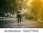 running woman. female runner... | Shutterstock . vector #626277041