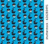 skulls  pirates  pattern   Shutterstock .eps vector #626283491