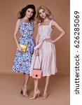 two beauty woman model wear... | Shutterstock . vector #626285069