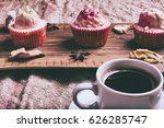 cupcake and coffee on old dark... | Shutterstock . vector #626285747