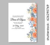 orange rose wedding invitation... | Shutterstock .eps vector #626290769