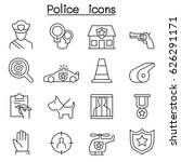 police icon set in thin line... | Shutterstock .eps vector #626291171