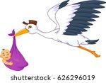 cute stork carrying baby | Shutterstock . vector #626296019