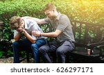 consoling friend. frustrated... | Shutterstock . vector #626297171