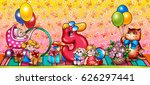 greeting card for girl of 5... | Shutterstock . vector #626297441
