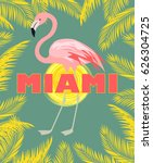t shirt print with miami... | Shutterstock .eps vector #626304725