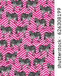 zebras on pink abstract... | Shutterstock . vector #626308199