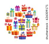 set of colorful gift boxes with ... | Shutterstock .eps vector #626309171